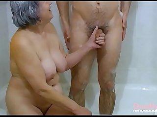 OmaHoteL Hairy Grandma and Lusty Couple Threesome