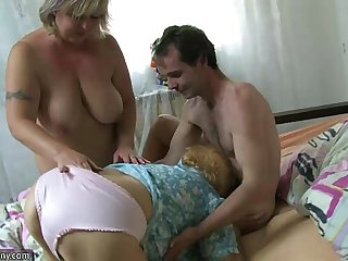 Very old chubby granny fucking with young guy OLDNANNY