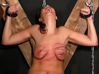 Extreme torture, whipping and destruction of her breasts