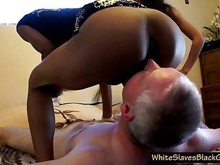 bald grandpa with 2 nasty black femdoms